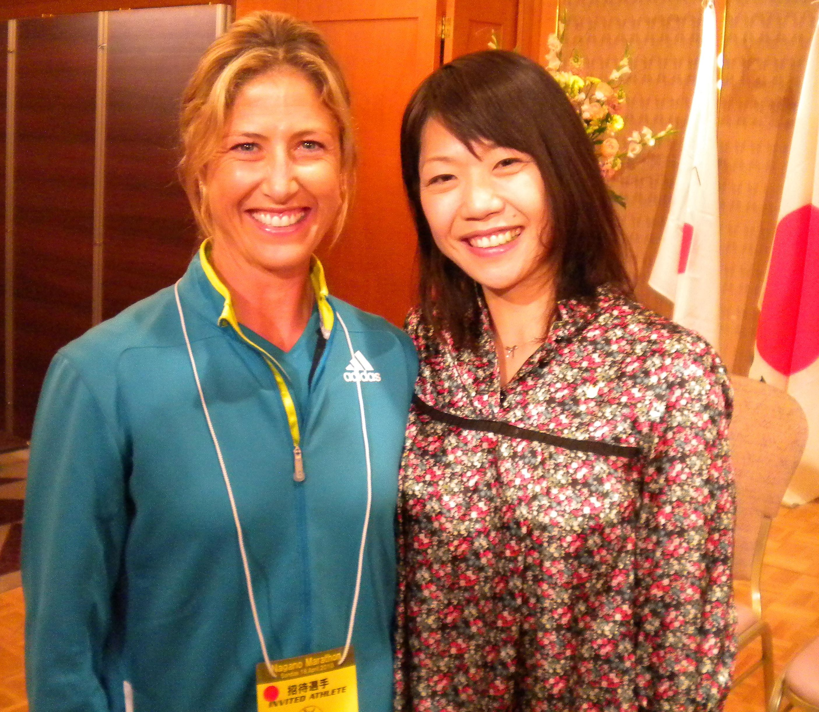 Olympic marathoners Naoko Tagahashi and Kate Smyth